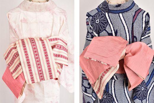 アイボリーに、ピンクとオペラルージュで織り出された独鈷風の縞模様が小粋な化繊の半幅帯です。