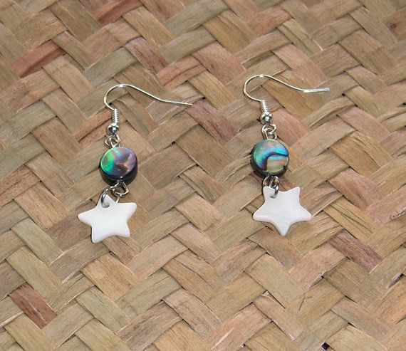 NZ Shell Earrings Paua Abalone and MOP Mother of by OceanicBeads, $12.36