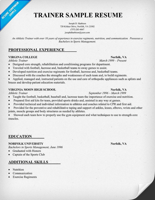 Free Trainer Resume Sample #teacher #teachers #tutor - resort personal trainer sample resume