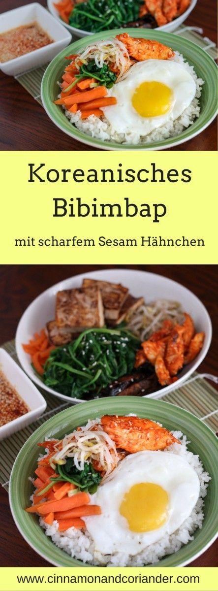 Bibimbap Reis Bowl mit Sesam Hähnchen – Gesundes Soulfood aus Korea. Bibimbap – der beliebte koreanische Reis Bowl ist schnell gemacht und super gesund. In diesem einfachen Rezept toppen wir unser Bibimbap mit leicht scharfem Sesam Hähnchen!