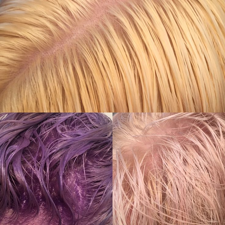 Bleached roots, applied Wella T18 toner, waited until dark purple, then washed.