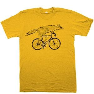 Fox On A Bike Tee Gold