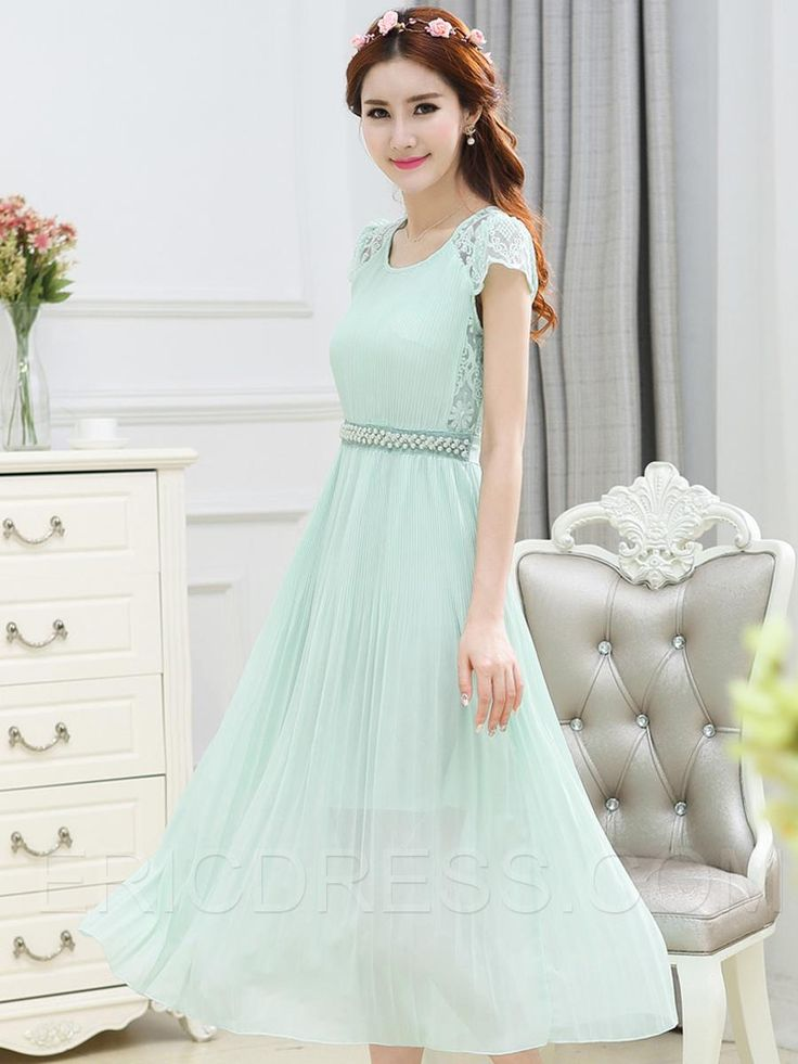 Ericdress Lace Patchwork Pleated Bead Maxi Dress 5