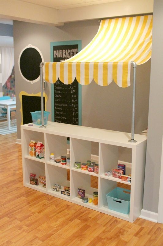 Kids would LOVE this change to the bookshelf in their playroom. How fun is this kids bedroom idea! Creative play ideas are endless.
