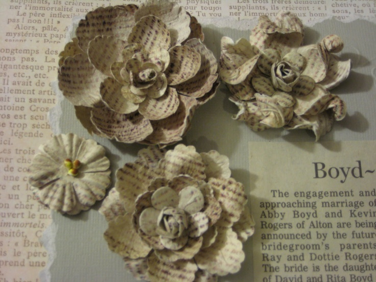 Vintage book sheet flowers.