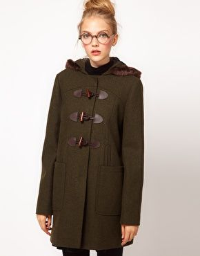 Pretty sure I just repinned this for the glasses and not the coat. (ASOS Fur Trim Duffle Coat)