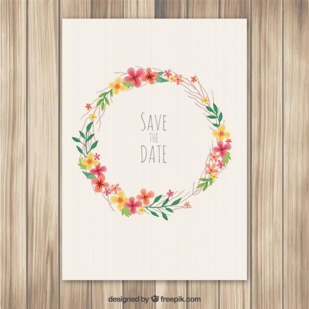 invitation de mariage avec couronne de fleurs Vecteur gratuit