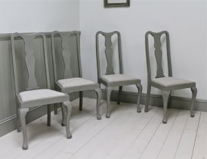 Four Painted Mahogany Dining Chairs - For Sale   Distressed But Not Forsaken