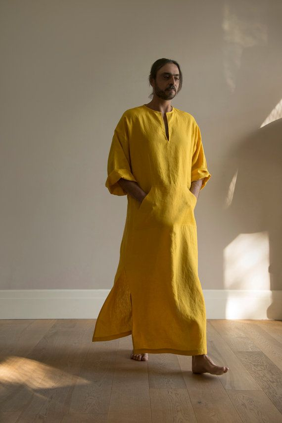 Curry colour MENS tunic. Simple and relaxed garment for him.