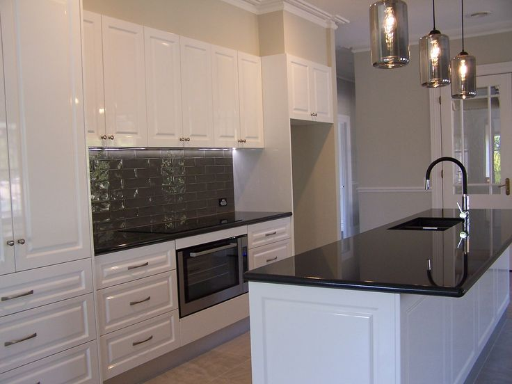 This Kitchen Features Jet Black Granite Benchtops With Polytec Vinyl Wrap Casino Profile Doors