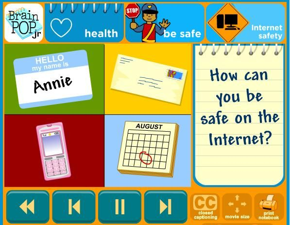My favourite resource for the module. Brain Pop Jr. Internet Safety - a short animated video that could be used as a discussion starter about cyber-safety. http://www.brainpopjr.com/health/besafe/internetsafety/
