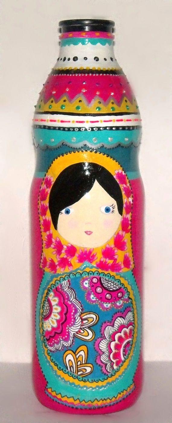 Botella reciclada pintada a mano - Adornos - Casa - 515110