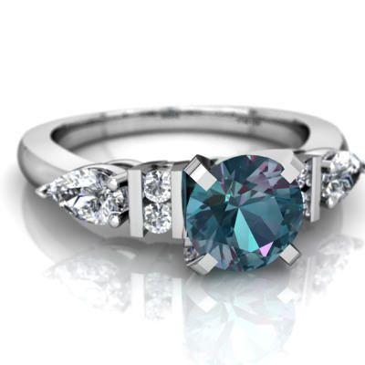Lab Alexandrite Engagement ring R2002-WCALX