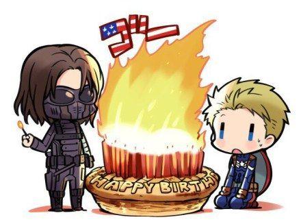 Happy birthday, Steve! |Steve gets apple pie. Bucky gets fire.
