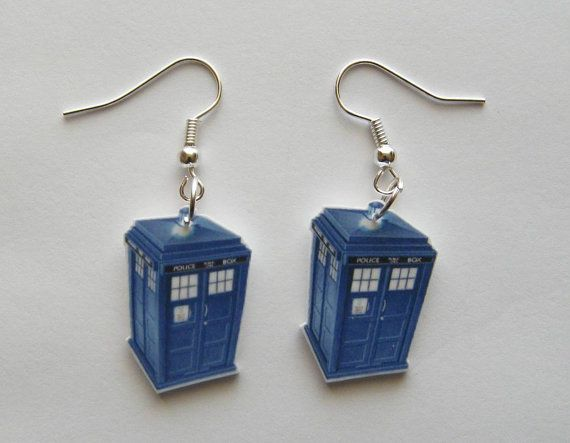 Dr Who Blue Tardis Police Call Booth  Earrings by Murals4U on Etsy