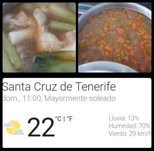 Un caldo de pollo y un potaje de lentejas para este frío nórdico de Santa Cruz de Tenerife