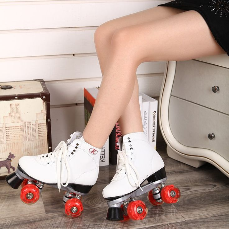 114.00$  Buy here - RENIAEVER Roller Skates Double Line Skates White Women Female Lady Adult With Red LED 4 Wheels Two Line Skating Shoes Patines  #buyonlinewebsite