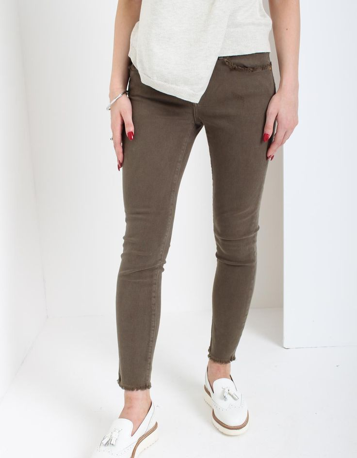 True Religion Khaki Halle Skinny Crop Raw Hem Jeans | Accent Clothing