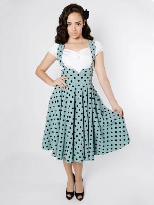 Mary Polka Dot Flock Swing Skirt