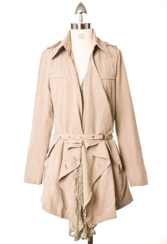 Lacy Ruffle Belted Trench coat by Chic+ Special Price: $56.90