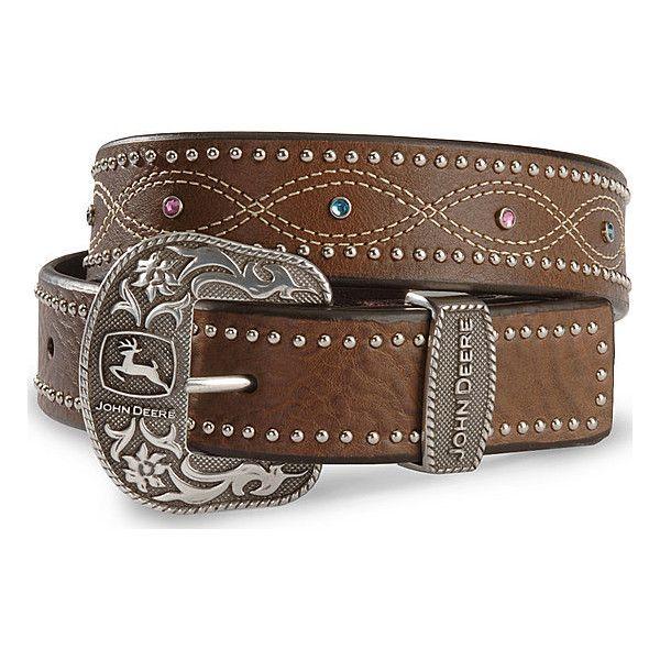 John Deere women's multi stone leather belt (51 CAD) found on Polyvore