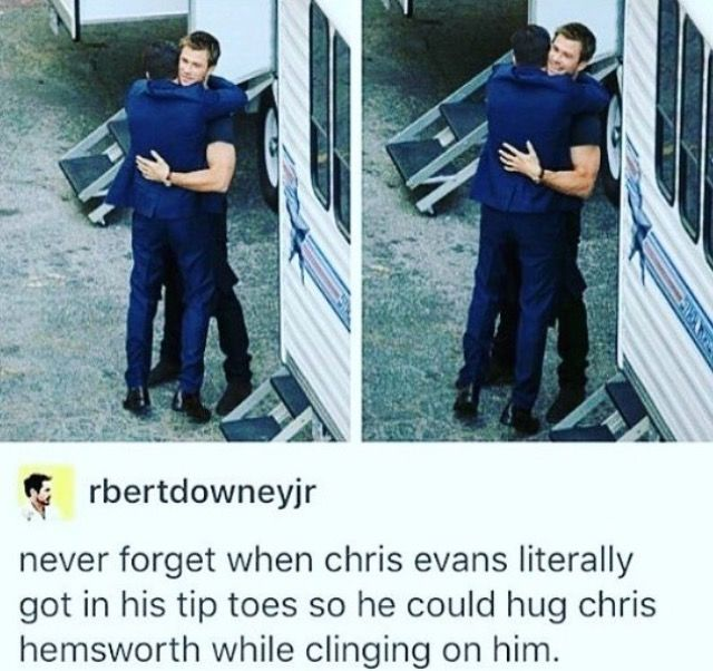 Chris Evans hugging Chris Hemsworth x3