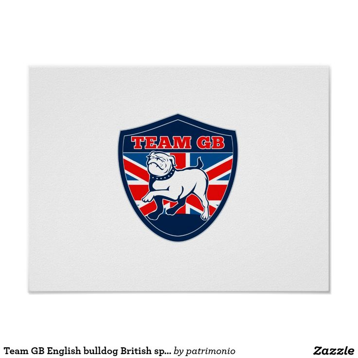 """Team GB English bulldog British sports team shield Poster. Retro style poster designed with an illustration of a proud English bulldog marching with the British flag in the background set inside a shield with the words """"Team GB"""" suitable for any sports team mascot. #TeamGB #poster #bulldog"""