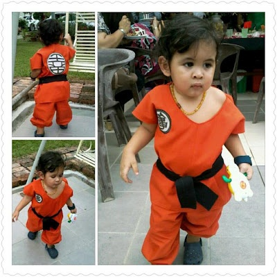 "Made Goku's Outfit (Dragon Ball) for my little guy for another toddler's 1st birthday party with the theme ""Super Heroes"""