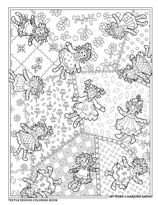 creative haven textile designs coloring book by marjorie sarnat rag doll
