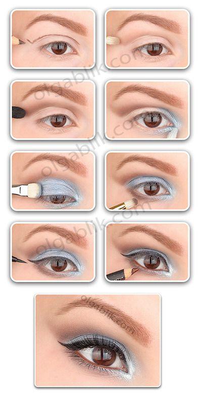 How to: Blue & Brown Makeup: Make Up, Lights Blue Eye, Eye Colors, Brown Eye, Blue Brown, Blue Eye Makeup, Winter Makeup, Makeup Eye, Brown Makeup