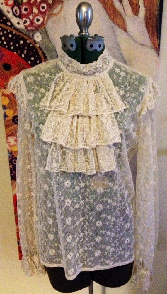 Vintage Open Lace Jabot Blouse by KactusKateVintage on Etsy, $34.00