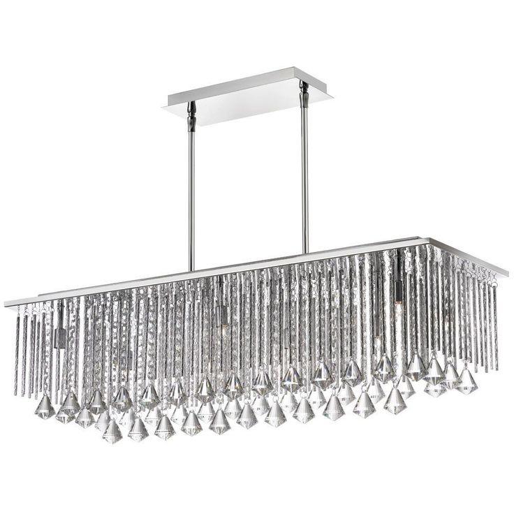 Dainolite Jacqueline Crystal And Organza 10 Light Horizontal Chandelier LT Pendant Polished Chrome Silver