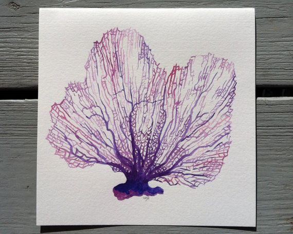 Cool Sea Fan- 9x9 Original Watercolor Ocean Painting-  beach cottage decor in violet, purple, lavender, mauve, pink. coral nature finds on Etsy, £23.50