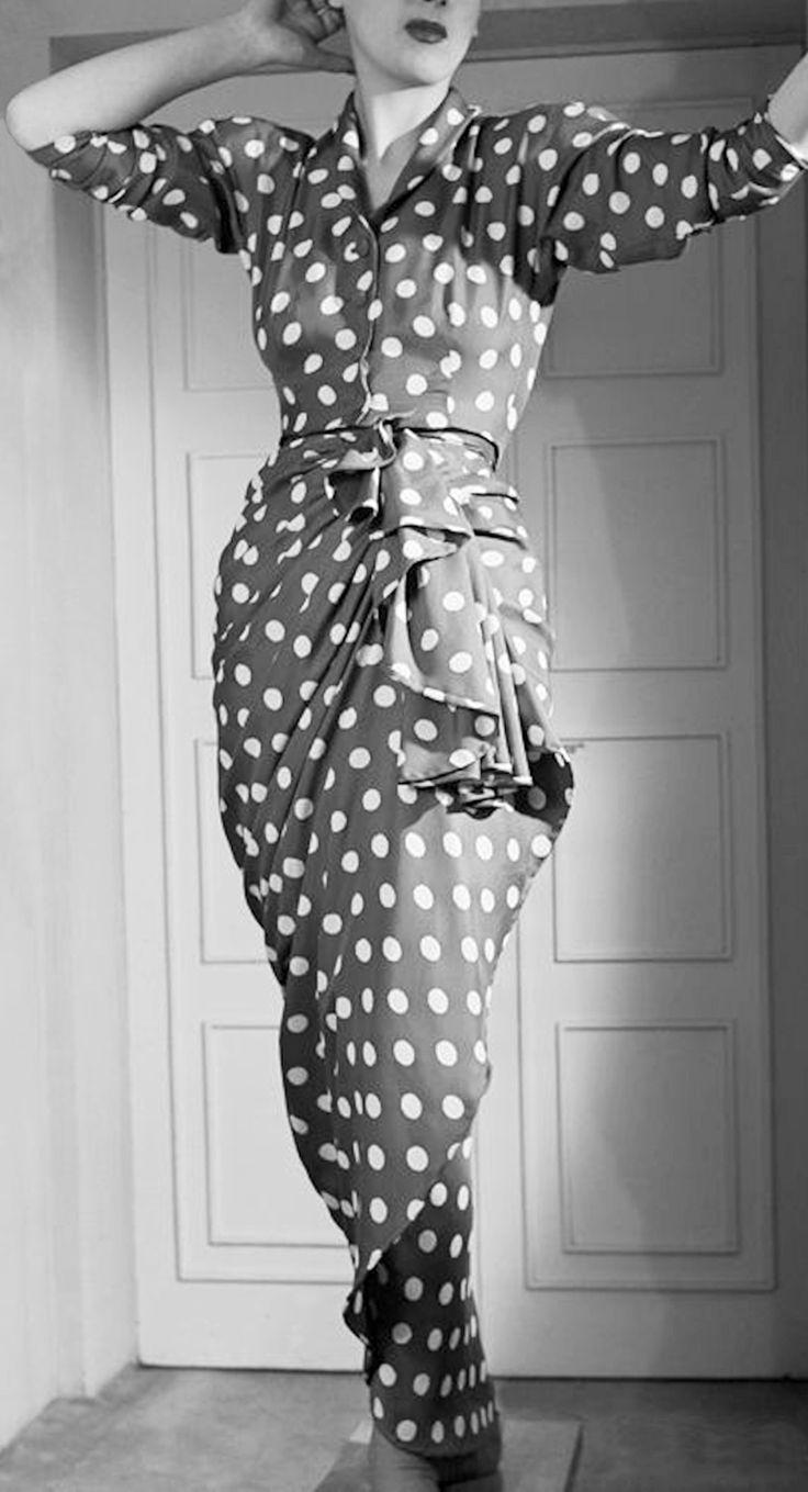 Cristobal Balenciaga, Polka Dot Pencil dress, 1946