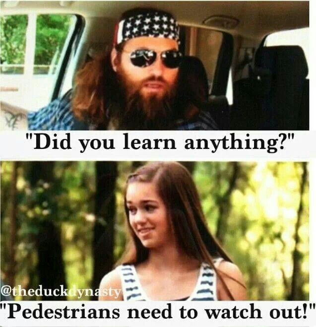Duck dynasty. Poor girl. Si and Jas really messed her up on that one. I say although it may be yuppy! Send them to driving school. At least they have insurance. Lol. The blonde in pic.