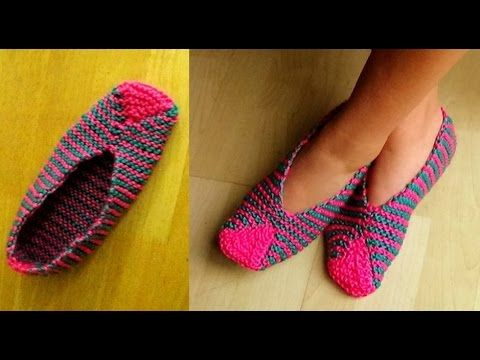 Cómo Tejer Pantuflas Orientales-Easy Slippers Knitting-2 Agujas (314) - YouTube