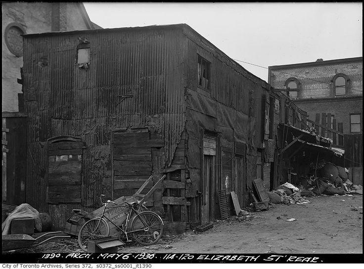 Rear of 114-120 Elizabeth Street, Arthur Goss, 1936 (Photo Credit: City of Toronto Archives)
