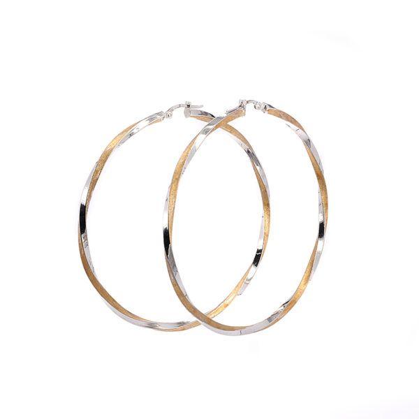 Σκουλαρίκια κρίκοι δίχρωμοι χρυσό Κ14-7249