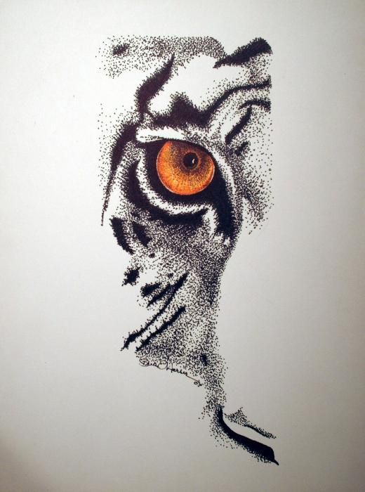 Dotwork orange-eyed half tiger face tattoo design