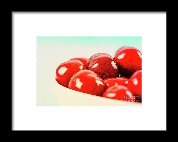 White Bowl Of Fresh Red Cherries Framed Print
