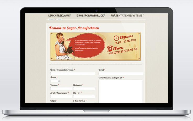 Schickes Kontaktformular im Retro/Vintage-Design - da macht jede Anfrage Freude! www.sugar-ad.de