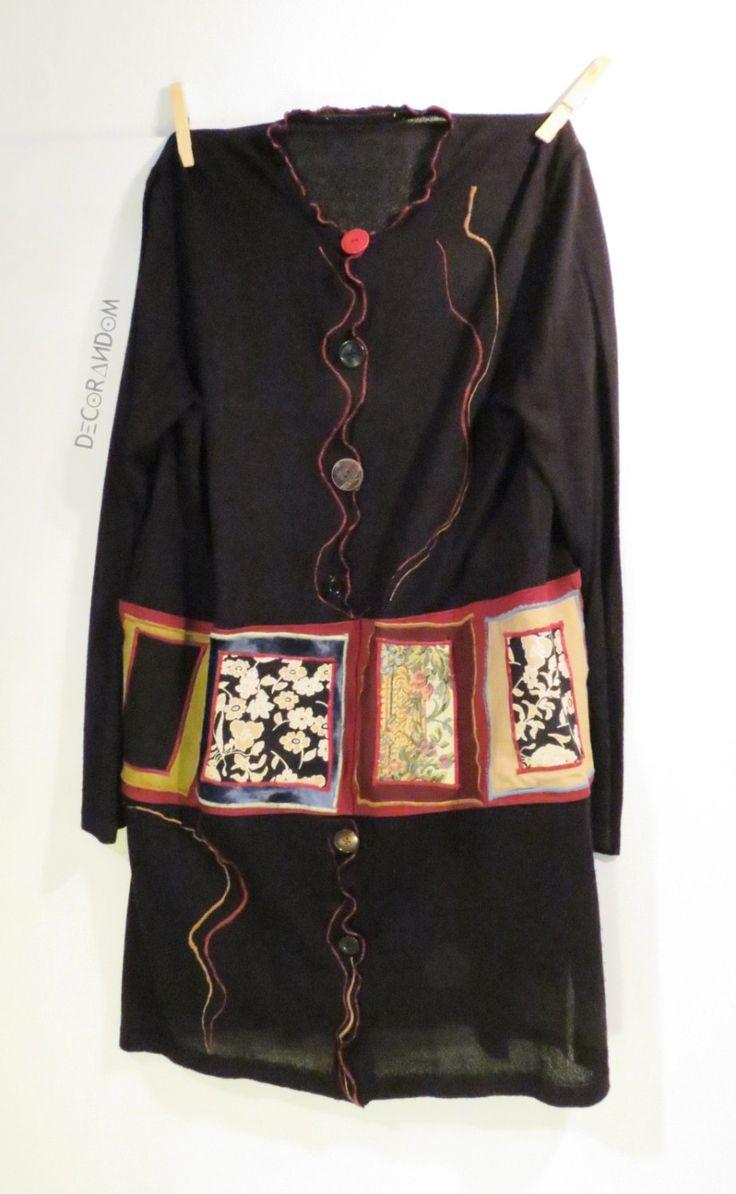 upcycled clothes,abito,vestito nero,bohemien,funky,cotone nero,con fascia colorata,stoffa riciclata,con bottoni,abito ricamato,nero rosso di decorandom su Etsy