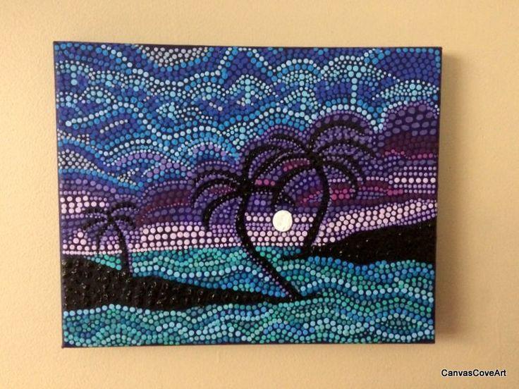 "Heart Palm Tree Dot Acrylic Painting 8"" X 10"" Canvas Art"