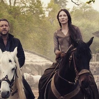 Maid Marian upon her steed. #cateblanchett #robinhood #2010 #russelcrowe #black #longhair #horse #medieval #beautiful