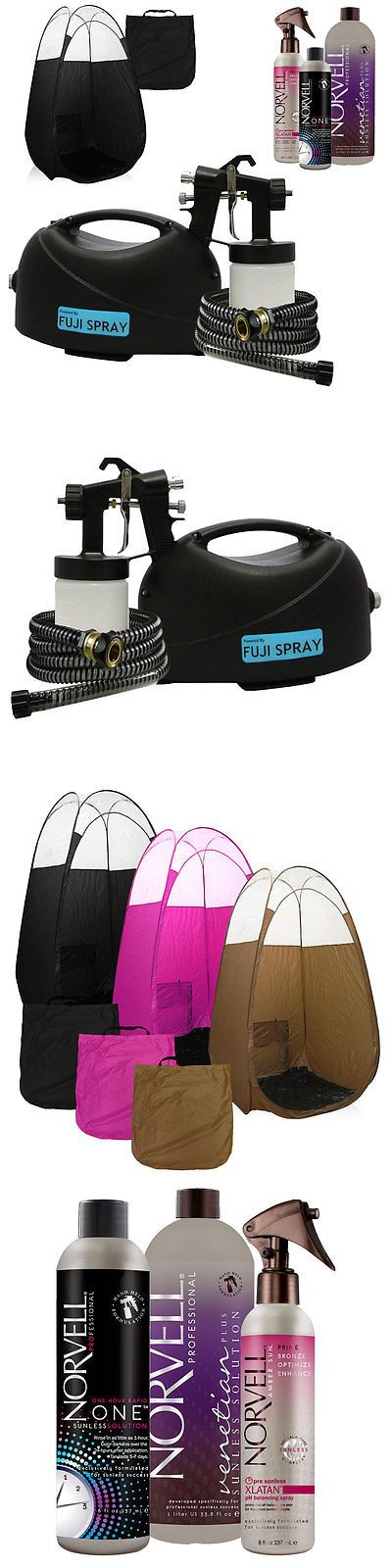 Airbrush Tanning Kits: Fuji Hvlp Tan Lite Spray Tan System And Norvell Tanning Solution And Black Tent BUY IT NOW ONLY: $349.0