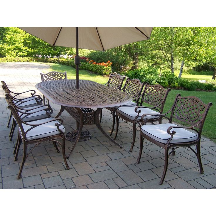 Oakland Living Mississippi Cast 82 X 42 In. Oval Patio Dining Set With  Swivel Chairs