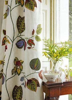 Zoffany embroidered fabric, available at Sue Foster Interiors, Emsworth www.suefoster.co.uk