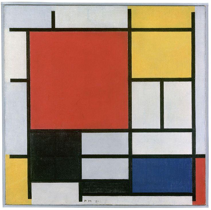 Piet Mondriaan (1921 ) Composition en rojo, azul y amarillo. Pieza neoplasticista.