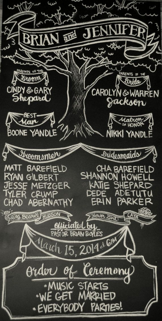 L  Custom Wedding Program Chalk Sign  Oak Tree & by Chalkography, $100.00