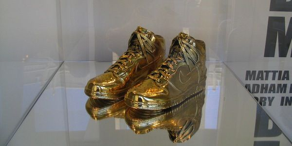 If you're looking for something flashy, these gold-dipped Nikes are your best bet.  Price: $5,405